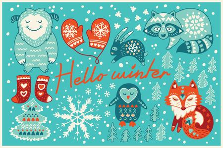 休日の記号と素敵な漫画の背景。クリスマスと新年のグラフィック要素のセット  イラスト・ベクター素材