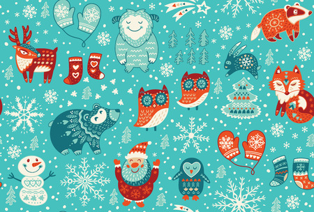 Cartoon christmas seamless pattern with santa, fox, deer, yeti, cute owl and other elements. Seamless pattern can be used for wallpapers, web page backgrounds. Vector illustration
