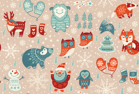 yeti: Cartoon christmas seamless pattern with santa, fox, deer, yeti, cute owl and other elements. Seamless pattern can be used for wallpapers, web page backgrounds. Vector illustration