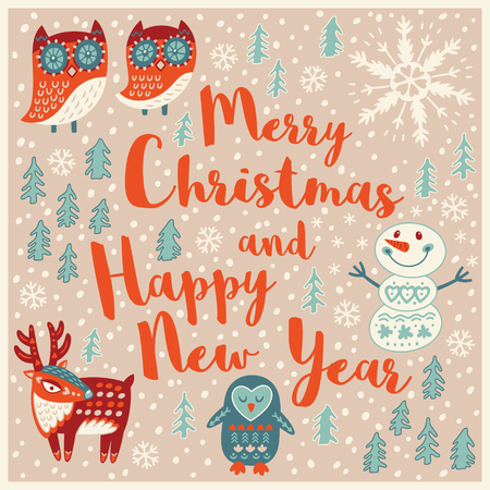 cartoon trees: Merry Christmas and Happy New Year. Holiday wishes background with Typography, Lettering. Cartoon card in vector. Childish background