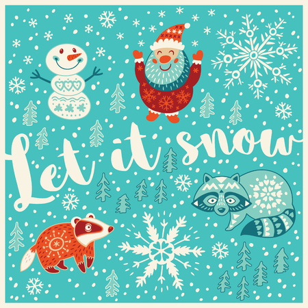let it snow: Let it snow. Holiday wishes background with Typography, Lettering. Cartoon card in vector. Childish background