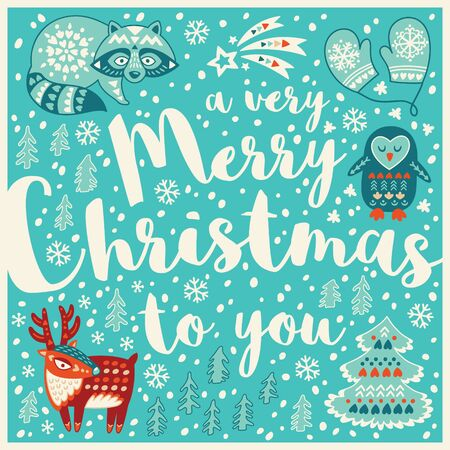 A very Merry Christmas to you. Holiday wishes background with Typography, Lettering. Cartoon card in vector. Childish background 向量圖像