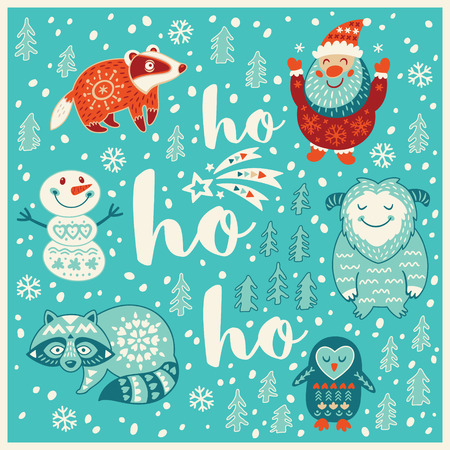 ho: Ho ho ho. Holiday wishes background with Typography, Lettering. Cartoon card in vector. Childish background