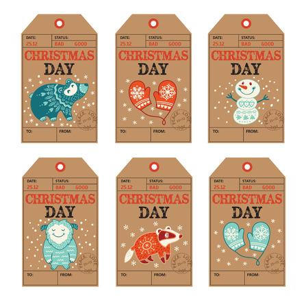 ベクトル クリスマス ラベル コレクション アナグマ、かわいいクマ、イエティ、雪だるま、ミトン。漫画のキャラクターと休日の装飾の要素。 写真素材 - 49904571