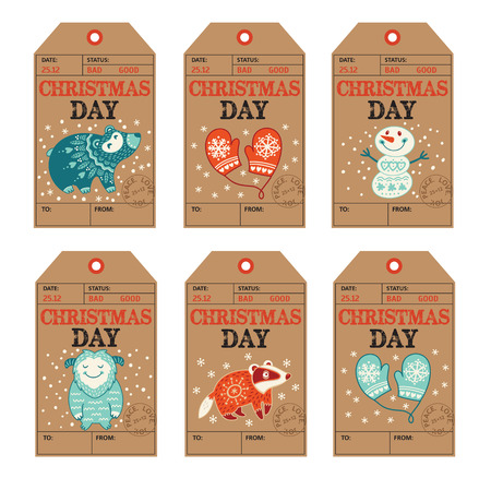Vector Christmas labels collection with badger, cute bear, yeti, snowman and mittens. Holiday decoration elements with cartoon characters. 向量圖像