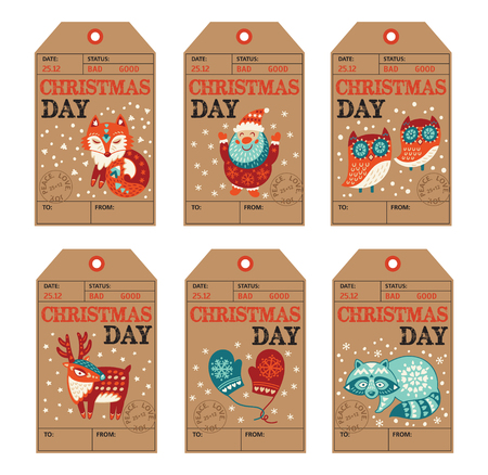 fox: Vector Christmas labels collection with santa claus, cute fox, owls, deer, raccoon and mittens. Holiday decoration elements with cartoon characters.