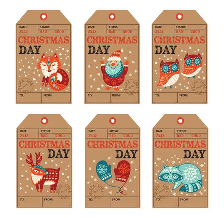 zorro: Vector de Navidad colección de etiquetas con Papá Noel, zorro lindo, búhos, venados, mapaches y guantes. Elementos de decoración de vacaciones con personajes de dibujos animados.
