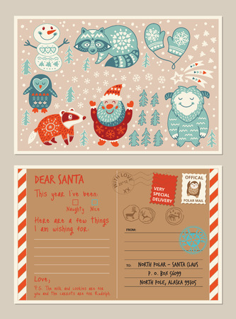 envelope decoration: Letter from child to Santa with space to personalise. Holiday card with cartoon character. Vector illustration