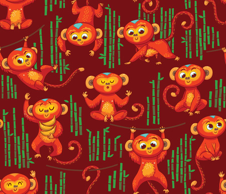 jumping monkeys: Monkeys playing in the jungle. Endless background with cartoon monkeys. Vector illustration