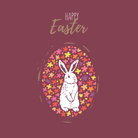 Happy Easter. Floral pattern egg with bunny silhouette isolated on red background and text Happy Easter. Vector Easter illustration for invitation, congratulation or greeting cards.