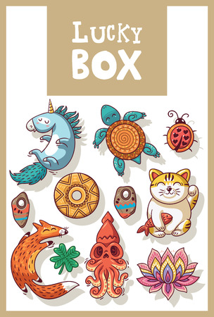 maneki neko: Lucky icons and design elements isolated. Collection of happy icons - unicorn, turtle, ladybug, coin, foxes, clover, lotus, maneki neko Illustration
