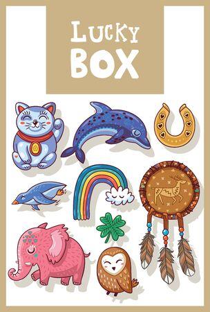 neko: Lucky icons and design elements isolated. Collection of happy icons - maneki neko, dolphin, horseshoe, rainbow, penguin, mammoth, owl, clover and dreamcatcher Illustration