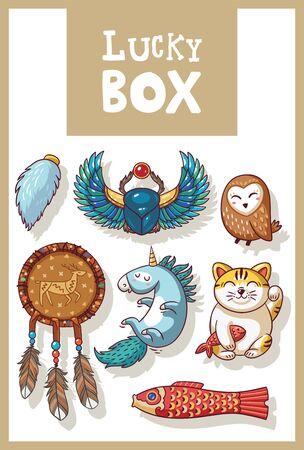 neko: Lucky icons and design elements isolated. Collection of happy icons - maneki neko, owl, dreamcatcher, bug skoroby, unicorn, carp kite
