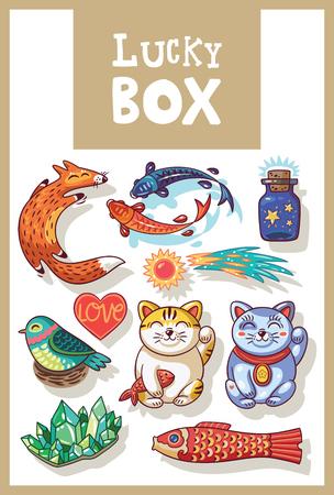 neko: Lucky icons and design elements isolated. Collection of happy icons - maneki neko, foxes, carp, comet, heart, bird, emerald, carp kite