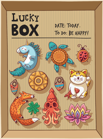 neko: Lucky icons and design elements isolated in a cardboard box. Collection of happy icons - unicorn, turtle, ladybug, coin, foxes, clover, lotus, maneki neko Illustration