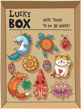 maneki neko: Lucky icons and design elements isolated in a cardboard box. Collection of happy icons - unicorn, turtle, ladybug, coin, foxes, clover, lotus, maneki neko Illustration