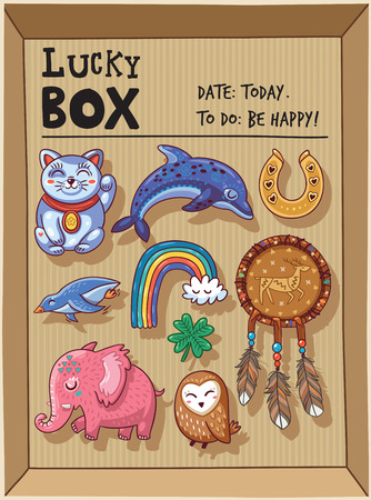 maneki neko: Lucky icons and design elements isolated in a cardboard box. Collection of happy icons - maneki neko, dolphin, horseshoe, rainbow, penguin, mammoth, owl, clover and dreamcatcher