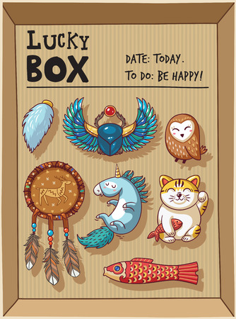 good luck charm: Lucky icons and design elements isolated in a cardboard box. Collection of happy icons - maneki neko, owl, dreamcatcher, bug skoroby, unicorn, carp kite