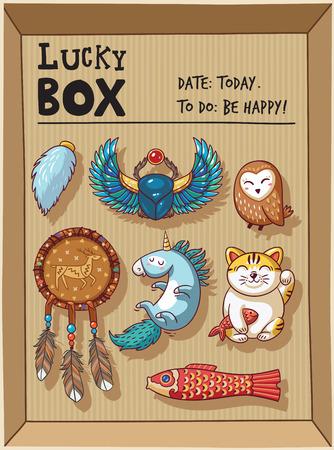 maneki neko: Lucky icons and design elements isolated in a cardboard box. Collection of happy icons - maneki neko, owl, dreamcatcher, bug skoroby, unicorn, carp kite