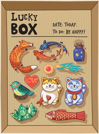 maneki neko: Lucky icons and design elements isolated in a cardboard box. Collection of happy icons - maneki neko, foxes, carp, comet, heart, bird, emerald, carp kite