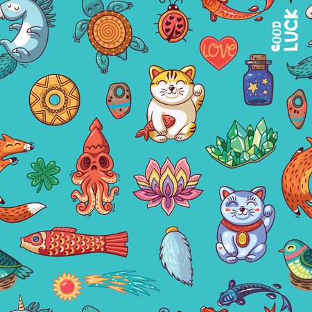 good luck charm: Vector seamless background with lucky charms. Unicorn and turtle, ladybug and coin, foxes, clover, lotus, maneki neko, comet and crystal