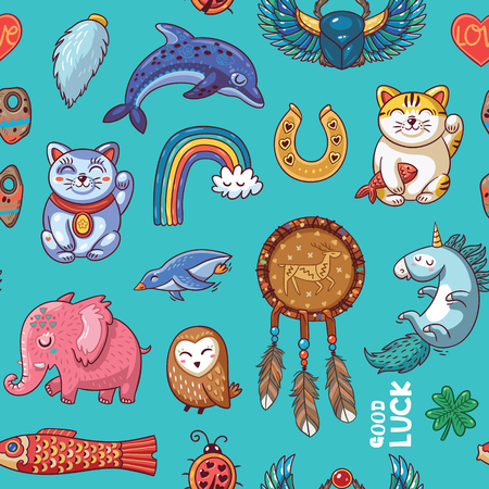 charms: Vector seamless background with lucky charms. Mammoth, horseshoe, rainbow, dolphin and penguin, owl, dream catcher and carp Illustration