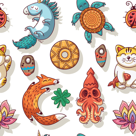 neko: Vector seamless background with lucky charms. Unicorn and turtle, ladybug and coin, foxes, clover, lotus and maneki neko. Great for scrapbook, gift wrapping paper, textiles. Illustration