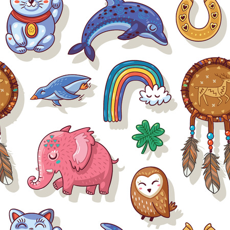maneki neko: Vector seamless background with lucky charms.  Mammoth, horseshoe, rainbow, dolphin and penguin, owl, dream catcher and carp. Great for scrapbook, gift wrapping paper, textiles.