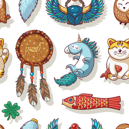 maneki: Vector seamless background with lucky charms. Dreamcatcher, unicorn, carp, clover, scarab beetle, owl and maneki neko. Great for scrapbook, gift wrapping paper, textiles.