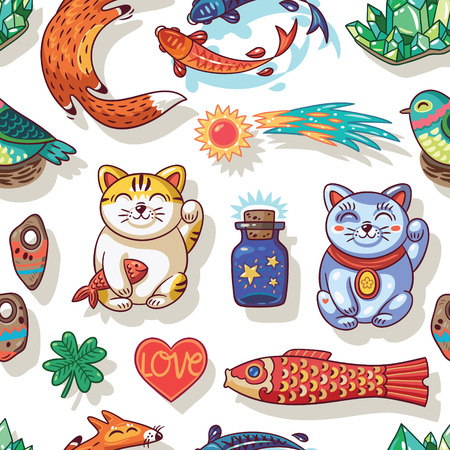 neko: Vector seamless background with lucky charms. Foxes, carp, emerald, comet and maneki neko. Great for scrapbook, gift wrapping paper, textiles.