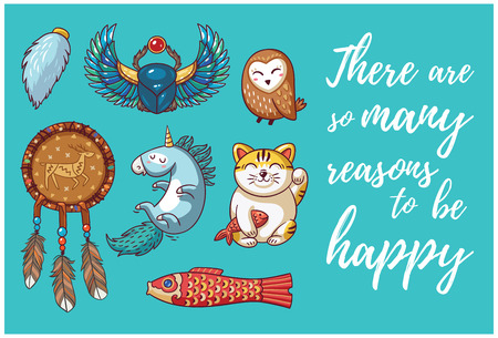 neko: Happy hand drawing card with cartoon amulets. There are so many reasons to be happy. Vector illustration.
