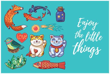 maneki neko: Happy hand drawing card with cartoon amulets. Enjoy the little things. Vector illustration. Illustration