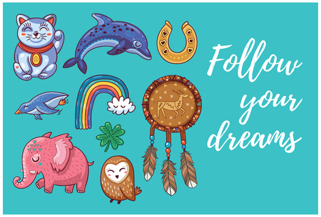 good luck charm: Happy hand drawing card with cartoon amulets. Follow your dreams. Vector illustration. Illustration