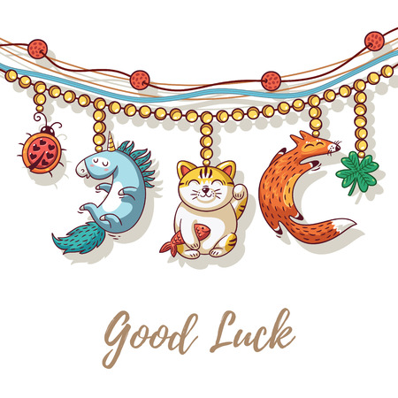 neko: Good Luck Charm bracelet with maneki neko, unicorn, clover, ladybug and fox