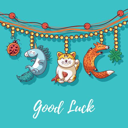 maneki: Good Luck Charm bracelet with maneki neko, unicorn, clover, ladybug and fox