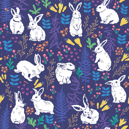 Vector seamless pattern with cute white bunnies, hearts and floral elements - leaves, branches, berries and flowers. Hand drawing texture Stock Illustratie