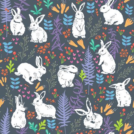 Vector naadloze patroon met schattige witte konijntjes, harten en bloemen elementen - bladeren, takken, bessen en bloemen. Hand tekening textuur