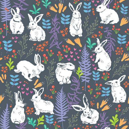 Vector seamless pattern with cute white bunnies, hearts and floral elements - leaves, branches, berries and flowers. Hand drawing texture