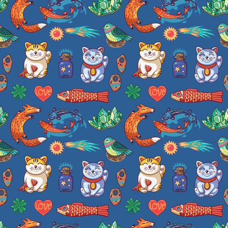 maneki: Vector seamless background with lucky charms. Foxes, carp, emerald, comet and maneki neko. Great for scrapbook, gift wrapping paper, textiles.