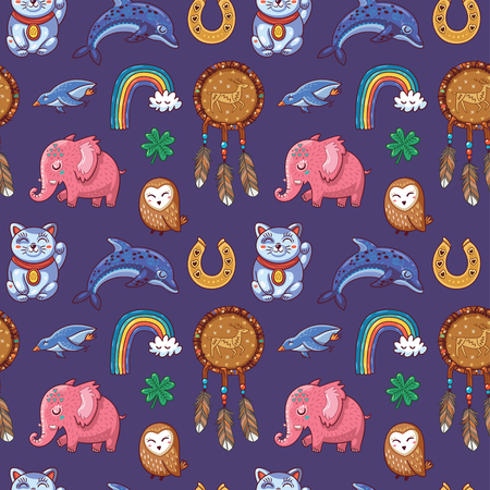 charms: Vector seamless background with lucky charms.  Mammoth, horseshoe, rainbow, dolphin and penguin, owl, dream catcher and carp. Great for scrapbook, gift wrapping paper, textiles.