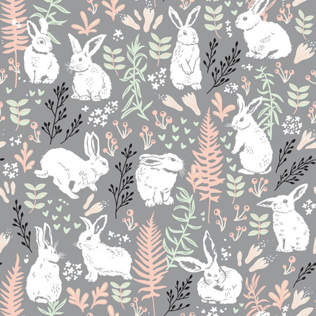 Vector seamless pattern with cute white hares, hearts and floral elements - leaves, branches, berries and flowers. Hand drawing texture Illustration