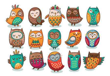 Cute indian hand drawn owl characters. Vector illustration  イラスト・ベクター素材