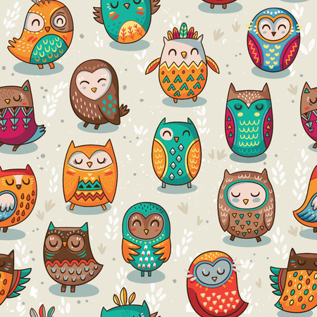 Seamless indian owl illustration background pattern in vector