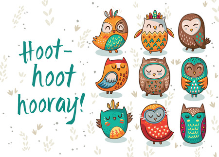 hooray: Hoot - hoot - hooray. Hand drawn print with owls. Vector illustration