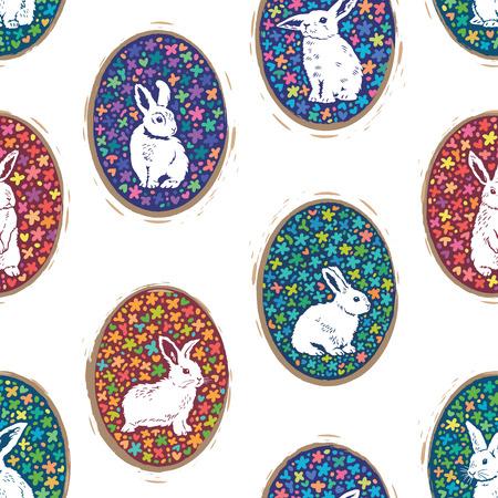 ilustración vectorial de fondo de Pascua. silueta de conejo lindo en huevos florales.