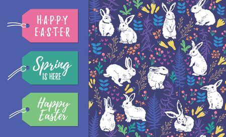 Vektor-Satz Ostern-Feiertagsaufkleber und nahtloses Blumenmuster mit weißen Kaninchen