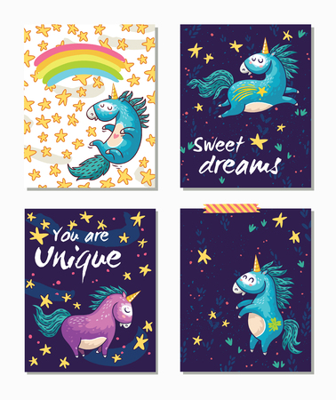 Magic card set with cartoon unicorns, stars and rainbow. Sweet dreams. Yoy are unique. Vintage happy card designs with funny unicorn characters