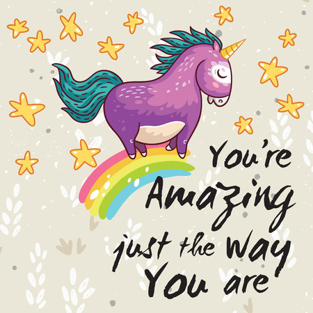 Vector card with unicorn, rainbow, stars, decor elements and text. You are Amazing just the way you are. This illustration can be used as a greeting card, poster or print