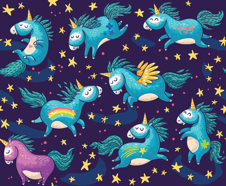 Vector pattern with cute unicorns, rainbow and stars. Magic background with little unicorns.