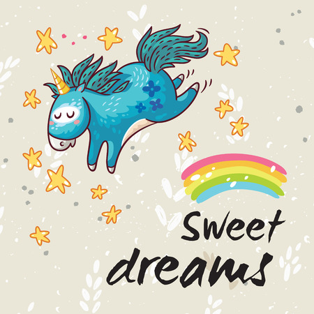 Vector card with unicorn, rainbow, stars, decor elements and text Sweet dreams. This illustration can be used as a greeting card, poster or print